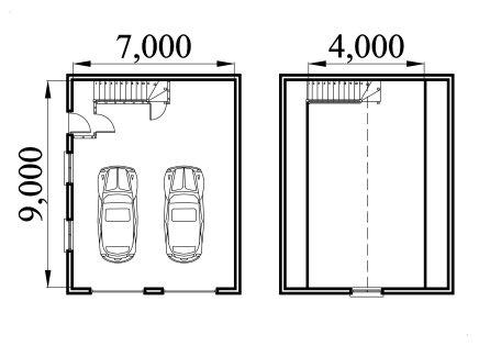 Garage plan with storage loft 7090bl - Garage storage loft plans collection ...